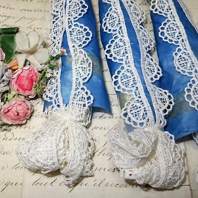 10y VTG WHITE SCALLOP LACE CLUNY CROCHET TRIM DOLL DRESS FRENCH VENISE SCHIFFLI