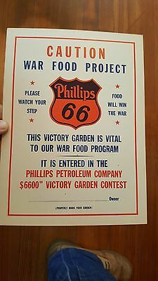 orig WWII Phillips 66 Cardboard Sign,WAR FOOD PROJECT, $6600 Victory Garden Cont