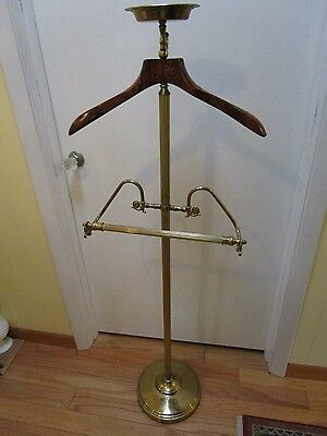 "Hollywood Regency Brass Suit Valet Stand Butler jewelry Dish wood hanger 52 ¼"" T"
