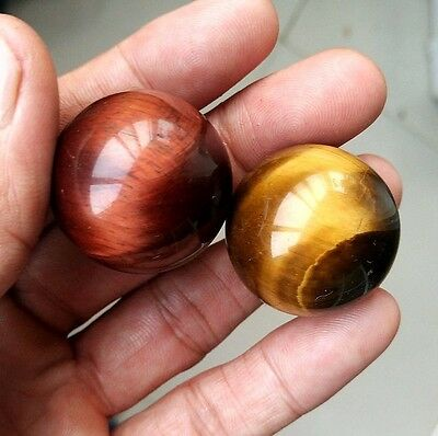 74.4g 2pc Natural Red and Yellow Tiger's Eye Crystal Sphere Ball Healing P0806