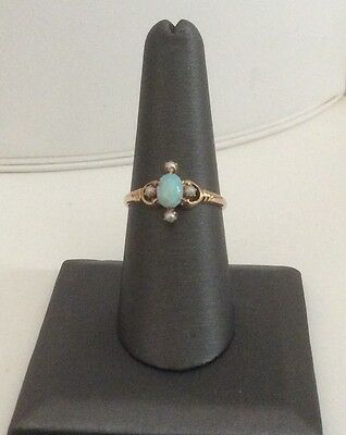 14 K YELLOW GOLD AMERICAN VINTAGE OPAL RING  w/ 4 SEED PEARLS C:1930 FREE SHIPPI