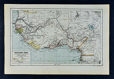 c1885 Hartleben Map Colonial West Africa - Slave Coast Liberia Benin Cameroon