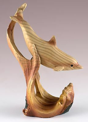 Dolphin Carved Wood Look Figurine Resin 5 Inches High New!