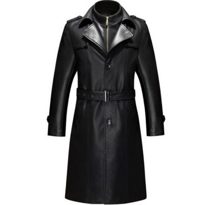 HOT Mens Leather Long Jacket Coats Trench Overcoats Business Luxury Outwear