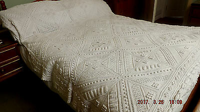 Ant1920 Large Irish Bed Cover Hand Knit In Heavy Cotton  Wonderful Pattern