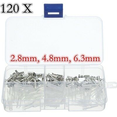 120X Assortments 2.8/4.8/6.3mm Female Spade Connector Wire Crimp Terminals