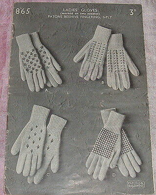Knitting Pattern For Gloves 4 Ply : Vintage Knitting Pattern Ladies 1950s Lacy Round Neck ...