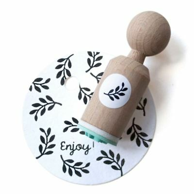 Mini Wooden Rubber Stamp - Twig with leaf - Craft / Scrapbooking
