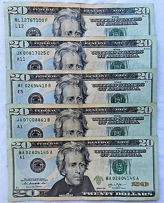 5 x $20 Dollar Bills = $100, Various Fed Districts, Circulated