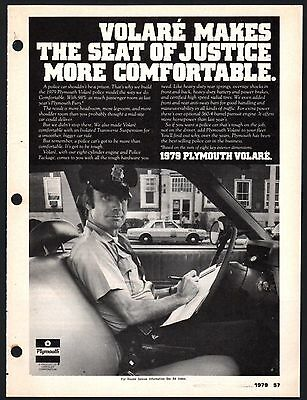 1979 PLYMOUTH VOLARE Police Cruiser Patrol Car AD w/ officer