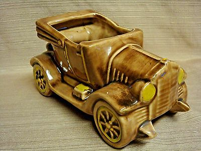 Vintage ART POTTERY Large & Heavy ANTIQUE CAR PLANTER