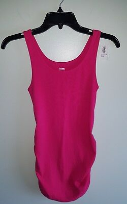NWT Old Navy Women's Maternity XS Ribbed Tank Top DARK PINK Fitted #214717