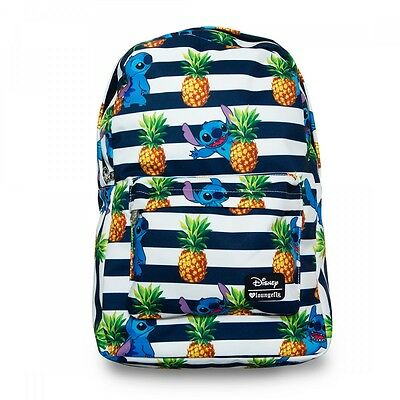 $ New LOUNGEFLY School Bag DISNEY Canvas Backpack STITCH PINEAPPLE Stripes