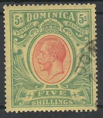 Dominica 1908 Kgv 5/- Top Value Used