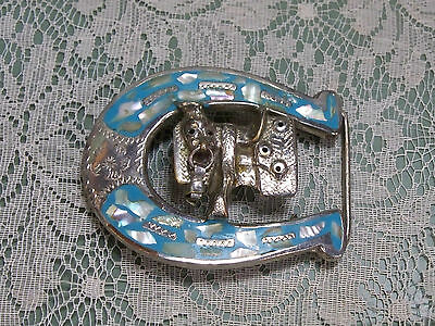 Horseshoe Saddle Chrome or Silver colored Mother of Pearl? Woman's belt buckle