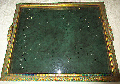 Antique Art Deco Carved Wood Gilt And Green Serving Tray With Glass Bottom