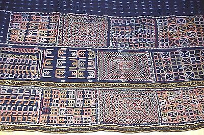 Antique Wodaabe Fulani Cloth Wrapper Indigo Fabric Embroidery Panel Niger Africa