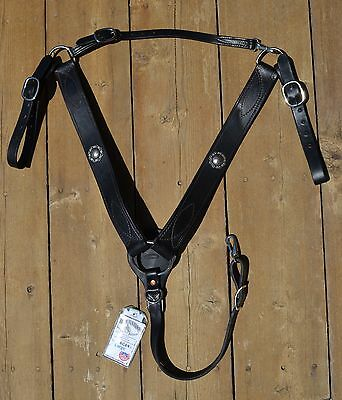 "Buckaroo Leather 2"" Breast Collar Black with Antiqued Conchos -Large Horse/Draft"