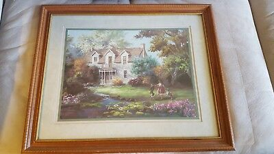 """Lee K. Parkinson """"Country Living"""" framed and matted print 1989"""