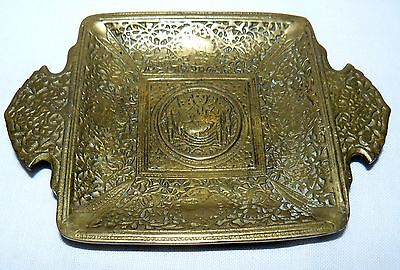 """VINTAGE ANTIQUE ISLAMIC ASHTRAY SOLID BRASS OTTOMAN SYMBOL SIGNED ISTANBUL 5""""x3"""""""