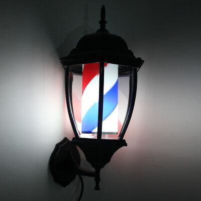 "20"" Barber Shop Pole Rotating LED Light Sign Hair Salon US Plug Red Blue White"