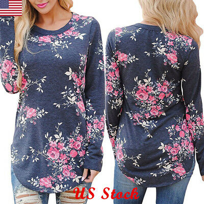 New Women's Loose Long Sleeve Floral Casual Blouse Shirt Tops Fashion T-shirt US