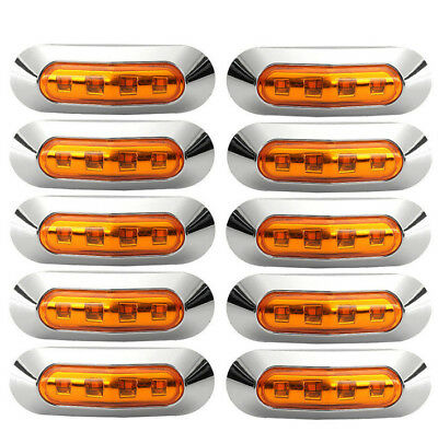 10x 12v/24v Amber 4 LED Side Clearance Marker Light Car Truck Tail Trailer Lamp