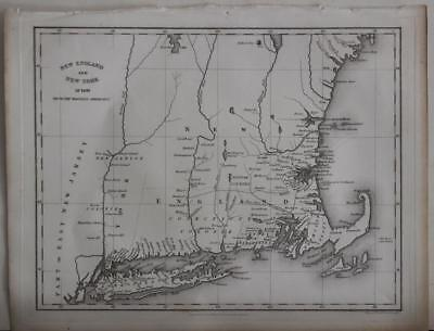 New York New Jersey New England United States 1830 Hinton Antique Engraved Map