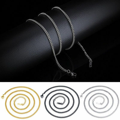 Mens Stainless Steel Necklace Titanium Flat Necklace Curb Link Chain 3MM Fashion