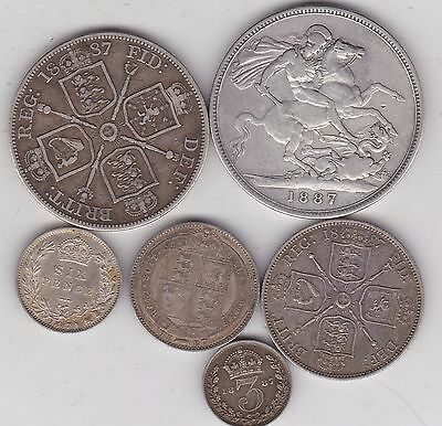 1887 Victorian Jubilee Set Of 6 Silver Coins In Good Fine Or Better Condition
