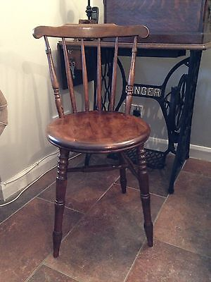 Vintage Wooden Turned Spindle Back Chair With Penny Seat Early 20thC