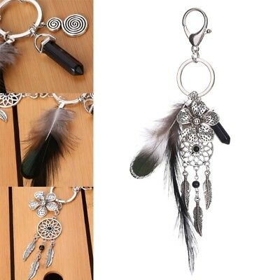 Boho Keychain Dreamcatcher Flower Feather Keyfob Keyring Purse Bag Car Ornament