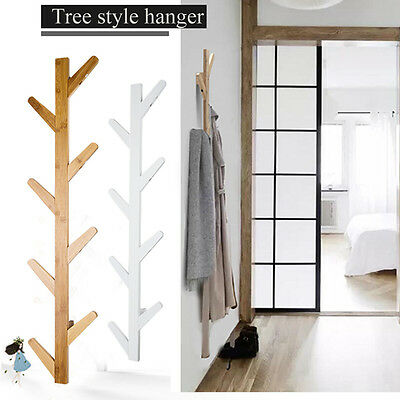 Wooden Tree Style Wall Mounted Hanger Clothes Coat Hat Bag Solid Rack 8 Hooks