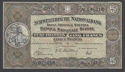 5 Francs From Switzerland 1951