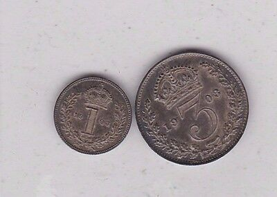 1903 Edward Vii Maundy Silver Three Pence & Penny In Extremely Fine Condition