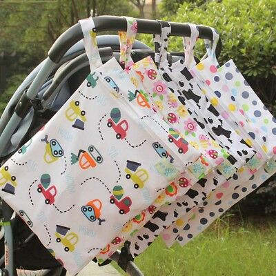 Cartoon Baby Nappy Reusable Washable Wet Dry Cloth Zipper Waterproof Diaper Bag
