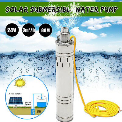 24V DC 684W 3m3/H 80M Head Deep Solar Submersible Water Pump Stainless Steel