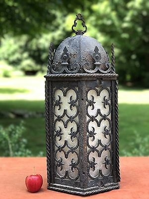 Antique Wrought Iron Spanish Revival Hanging Light Lamp Lantern Mission Tudor