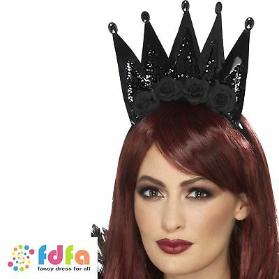 BLACK EVIL QUEEN CROWN ON HEADBAND HALLOWEEN Womens Ladies Fancy Dress Costume