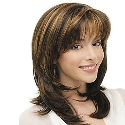 Women Mother Style Middle Length Layered Hair Wig With Bangs/Fringe