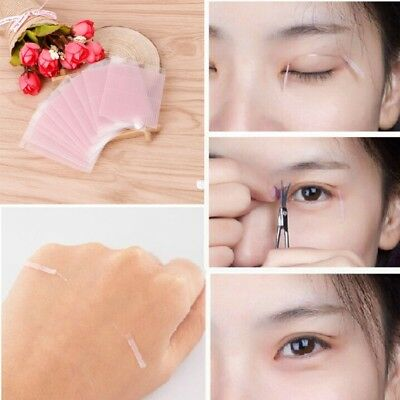 100Pcs Invisible Fiber Double Eyelid Adhesive Sticker Tape Eye Tapes Technical