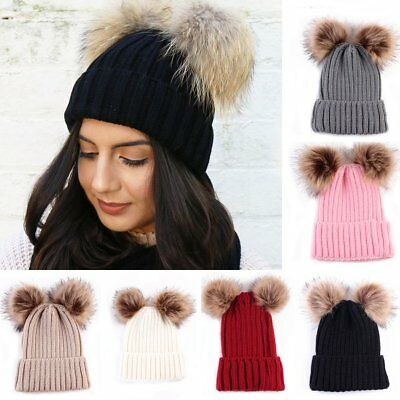 Women Ladies Winter Beanie Cap with Chunky Knitted Double Fur Bobble Pom Pom Hat