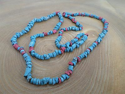 EGYPTIAN STYLE TURQUOISE & CORAL COLOUR CERAMIC BEAD NECKLACE replica antiquity