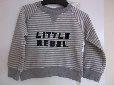 Boys Grey / White striped Sweatshirt with Little Rebel on the front age 12-18M