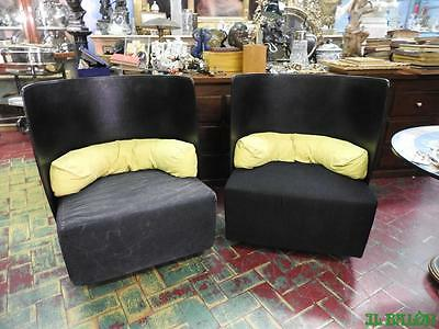 Original Pair Of Armchairs Black Leather Modern Antiques Design Italian Vintage