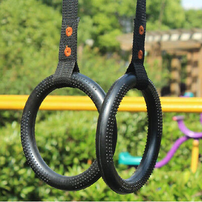 Gymnastic Rings With Straps Gym Cross Fit Strength Training Pull Up Dips Fitness