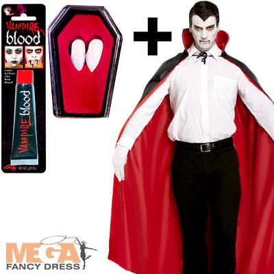 Reversible Vampire Cape + Blood + Fangs Mens Fancy Dress Adult Costume Accessory