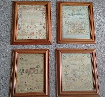 Four Vintage Framed Prints Of Embroidery Samplers : Phoebe Brown + 3 Others
