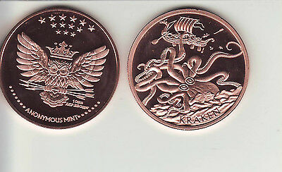 The KRAKEN   Anonymous Mint 1 oz. Copper Round Coin