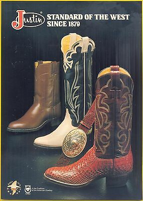 In the Tradition of the American Cowboy, 1982 Justin Boots Magazine Print Ad